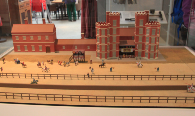 An architecture model of the tiltyard that Henry VIII built at Greenwich in 1516--down the center is the 'tilt', a wooden wall of around 2 metres high.