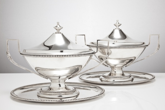 A pair of antique silver neo-classical sauce boats by William Holmes, circa 1781; image courtesy The London Silver Vaults.