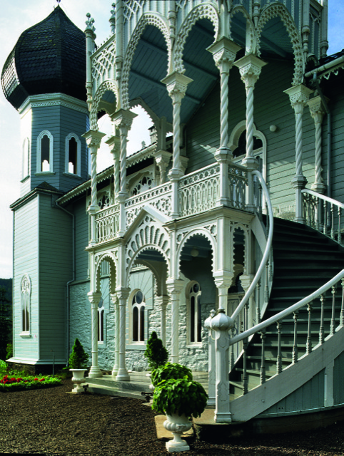 The gracefully ornate external staircase sweeping from the home of violinist Ole Bull, at Lysøen, Norway, built in the 1840s. Photo courtesy The Vendome Press and Bastin & Evrard/Brussels.