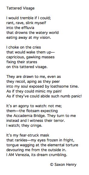 Poem Tattered Visage by Saxon Henry