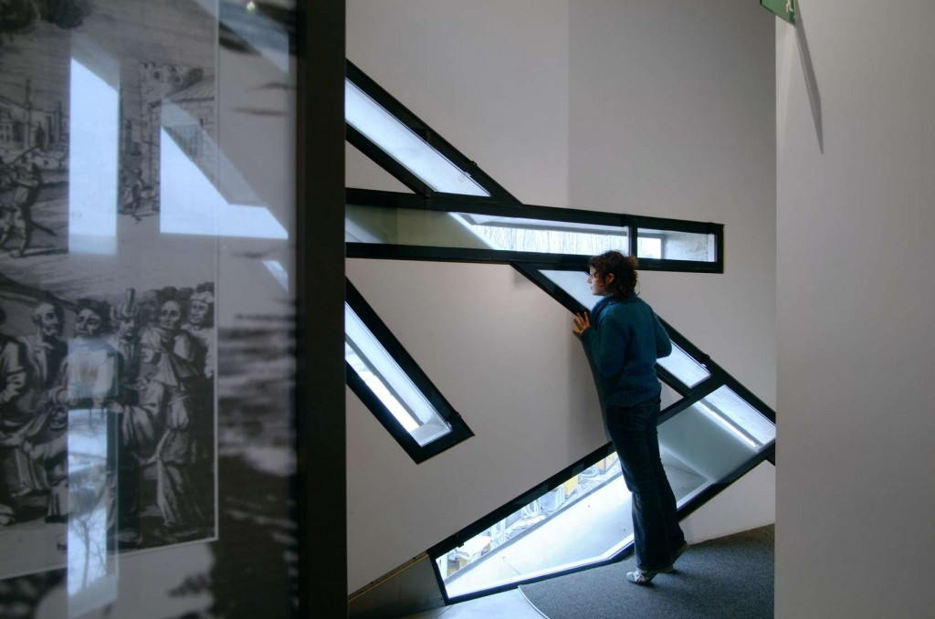 Interior view of the Jewish Museum in Berlin by Libeskind.