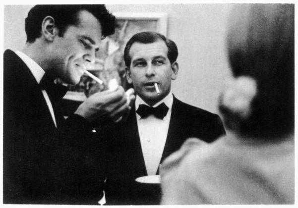 Charles Eames and Eero Saarinen smoking cigarettes at Cranbrook.