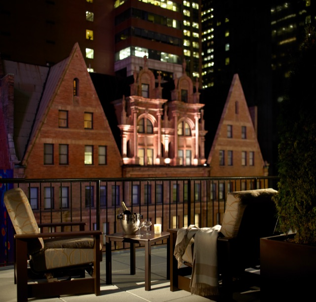A terrace at The Chatwal in New York City.