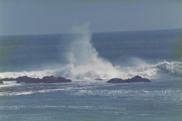 The tides splashing on the California coastline