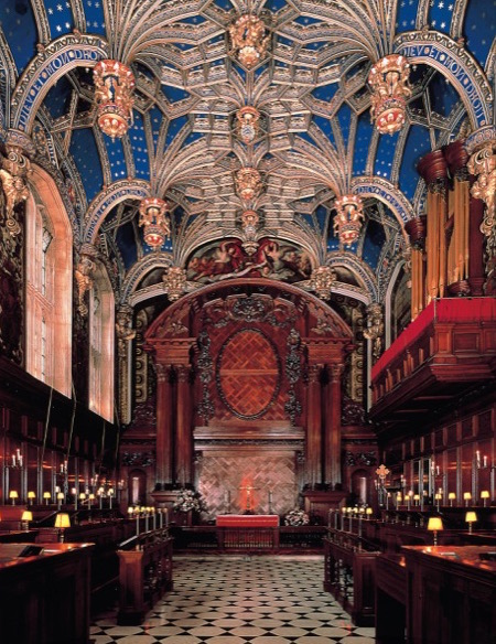 The ornate Chapel Royal at Hampton Court Palace