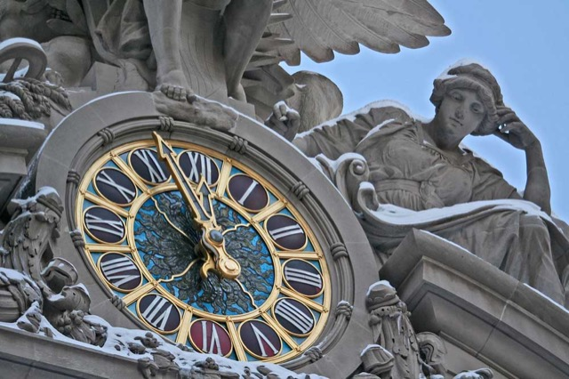 The Tiffany Clock on the facade of Grand Central Terminal