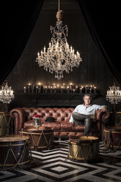 Timothy Oulton surrounded by his urbane designs.