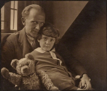 Author A A Milne with his son and Pooh Bear