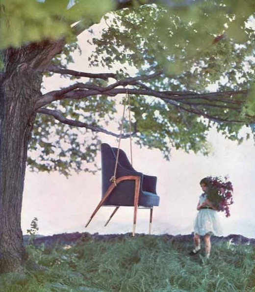 Dunbar's Austen chair as a swing