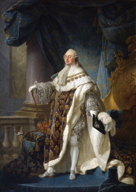 King Louis XVI of France in a grand costume befitting a Bourbon royal