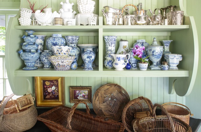 Charlotte Moss collects an array of vases and baskets for arrangements.