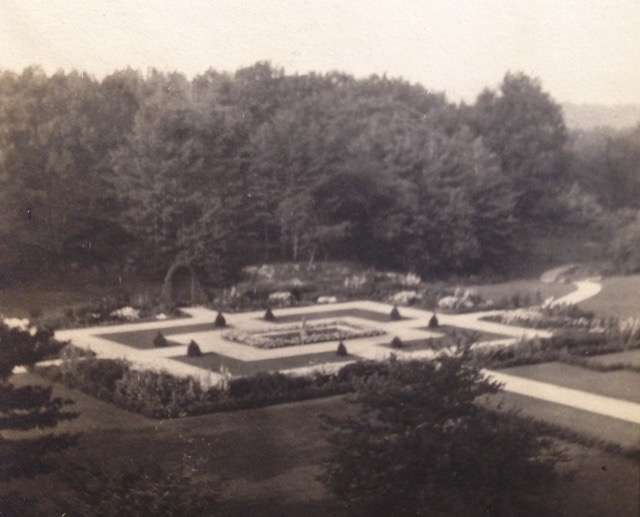 This image of Wharton's gardens at The Mount, taken from her home, was among the author's archives at Beinecke.