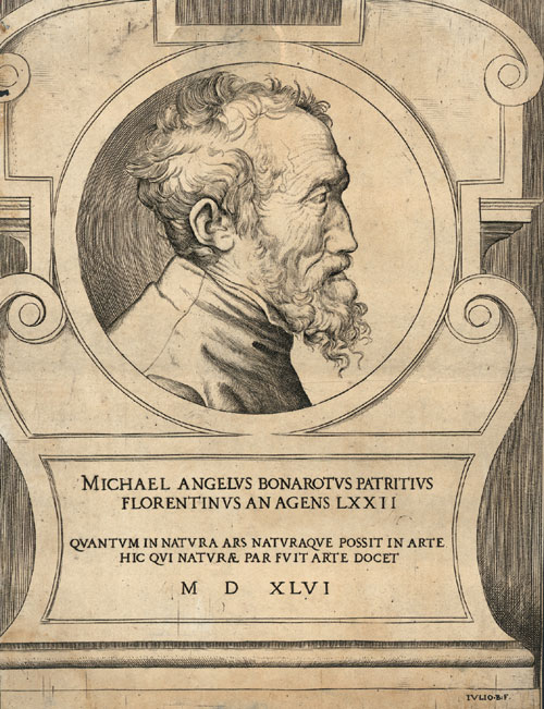 A wizened Michelangelo is sketched by Giulio Bonasone
