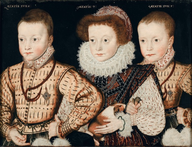 Three children painted in the Elizabethan style.