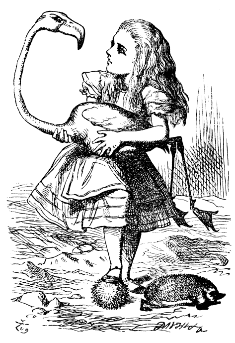 John Tenniel illustrated Alice playing croquet with a flamingo