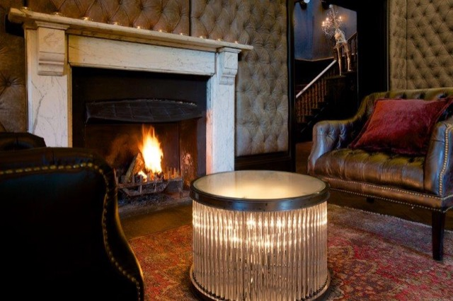 A roaring fire in the bar area of the Glazebrook House Hotel
