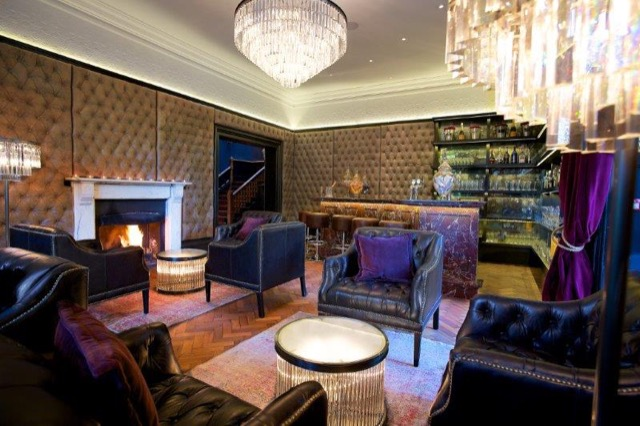 The bar at Glazebrook House Hotel designed by Timothy Oulton
