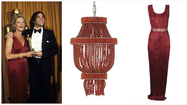 Currey and Company Karma pendant with Fortuny Delphi's red carpet style