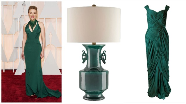 Currey and Company table lamp with Scarlet Johansen's red carpet style