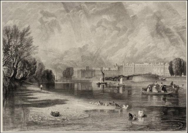 A drawing of Hampton Court Palace