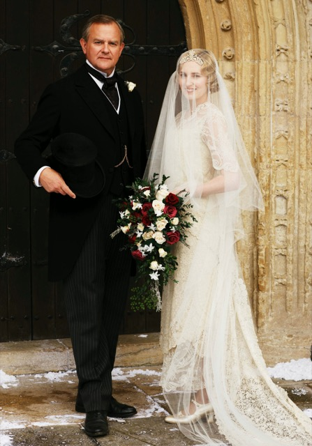 Edith Crawley in her wedding dress