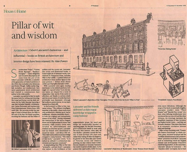 The FT reviews Lancaster's Pillar to Post