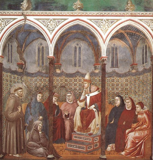 St Francis preaches in the presence of Pope Honorius III, a fresco by Giotto;