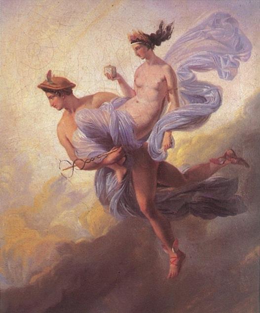 Mercury and Pandora by Alaux Jean, the myth of Pandora