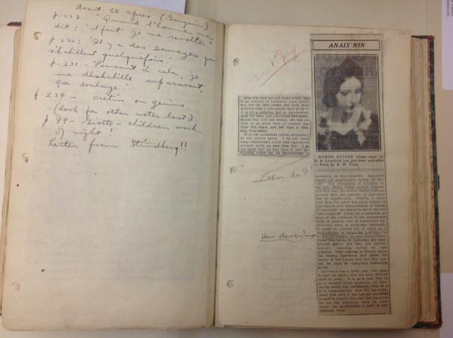 Henry Miller notebook clipping Nin