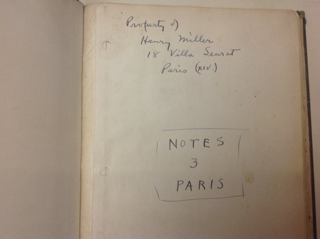 Henry Miller Notebooks touching literary history