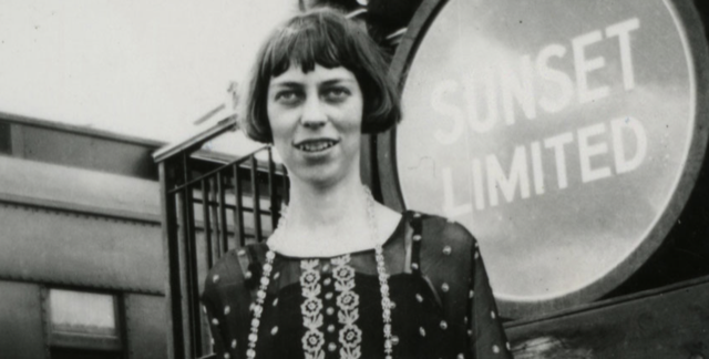 Eudora Welty on train platform