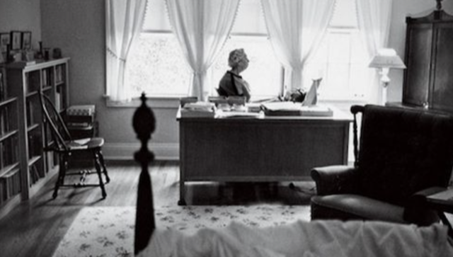 Eudora Welty at her writing desk