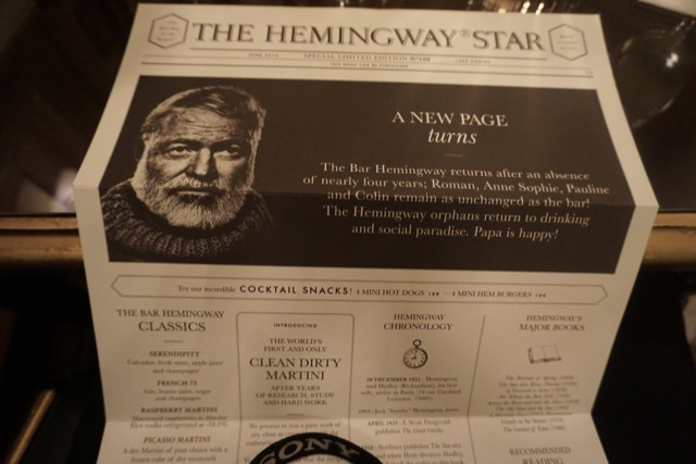 Hemingway menu at the Ritz Paris