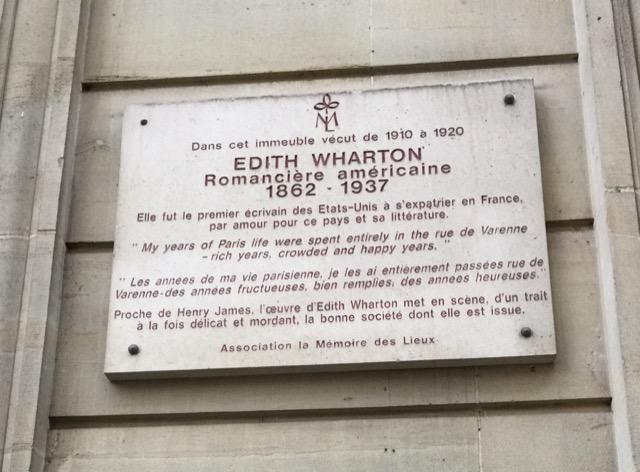 Edith Wharton plaque rue de Varenne